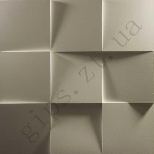 гипсовая 3д панель • КВАДРАТЫ • Размерами 500*500 мм, толщиной 30 мм, Рисунок панели имеет девять выпуклых квадратов, плоскость которых наклонена в разные стороны